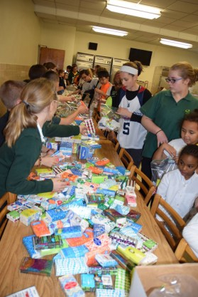 "The students at St. John's School in Binghamton collected personal care items for veterans in need and helped to package them into ""Bundles of Love."""