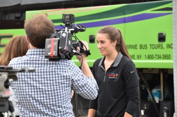 Pilgrim Lizzie Hall was interviewed by local media before departure. (Sun photo | Katherine Long)