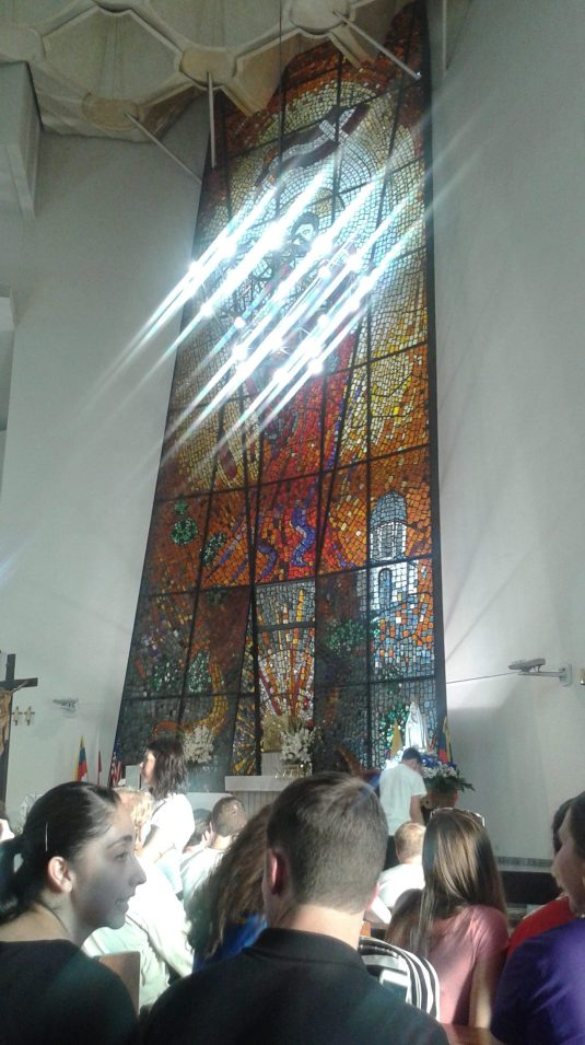 In the chapel where pilgrims attended adoration and confession (photo courtesy Samantha Pare).