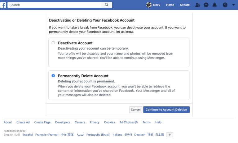 Screen Shot 5 permanently delete account