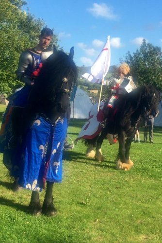 Hay History Weekend and The Battle of Agincourt - English and French Knights on Horseback in Hay Castle Front Lawns by The Cavalry of Heroes