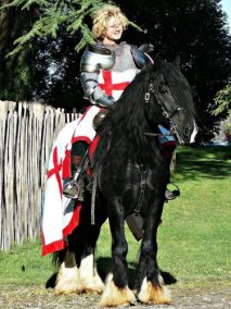 English Knight Marc Lovatt on Horseback Guinness St George Jousting Medieval Herefordshire, Gloucestershire, West Midlands, Wales, Shropshire, Three Counties