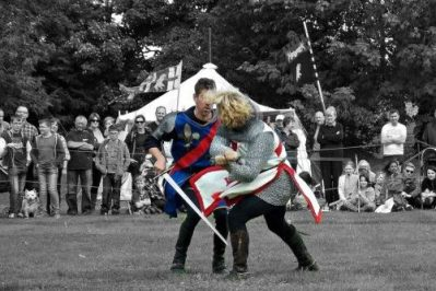 Hay History Weekend and The Battle of Agincourt - Knights Swordfighting English vs French Marc Lovatt Hay Castle