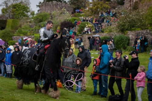 Berkeley Castle Medieval Jousting Show 2017 - Knights on Horseback Medieval Jousting Display by The Cavalry of Heroes featuring The Dark Knight, Lord Pendragon
