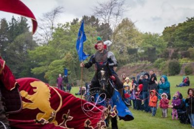 Berkeley Castle Medieval Jousting Show 2017 - Knights on Horseback Medieval Jousting Display from The Cavalry of Heroes, even when it is raining