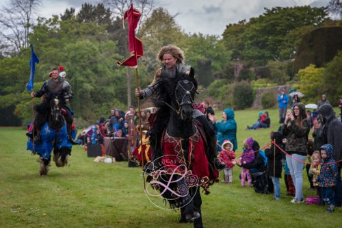 Berkeley Castle Medieval Jousting Show 2017 - The Cavalry of Heroes - Knights on Horseback and Medieval Jousting Show - drawing a crowd even in the rain
