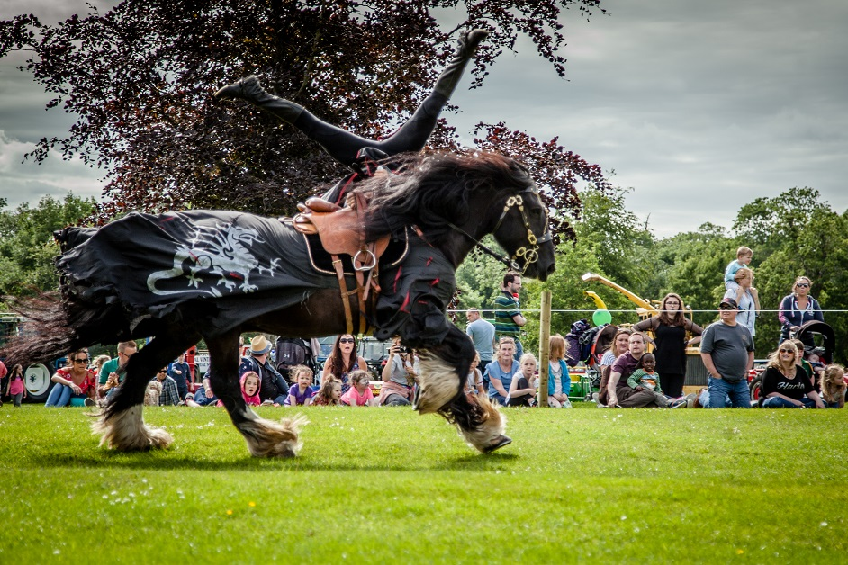Flavours of Fingal Country Show Dublin Ireland - The Cavalry of Heroes Medieval Jousting Horse Stunt Show - Dark Knight Headstand Scissors Trick Riding Sequence 1