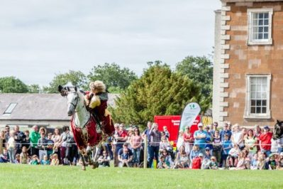 Flavours of Fingal Country Show Dublin Ireland - The Cavalry of Heroes Medieval Jousting Stunt Show - Golden Knight Marc Lovatt Double Vault Trick Image 1