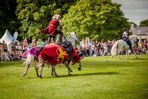 Flavours of Fingal Country Show Dublin Ireland - The Cavalry of Heroes Medieval Jousting Horse Stunt Show -Golden Knight Marc Lovatt Roman Riding Trick
