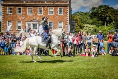 Flavours of Fingal Country Show Dublin Ireland - The Cavalry of Heroes Medieval Jousting Horse Stunt Show - Knight Sir Lancelot riding Curioso