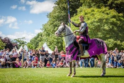 Flavours of Fingal Country Show Dublin Ireland - The Cavalry of Heroes Medieval Jousting Horse Stunt Show - Knight Sir Robert standing to attention