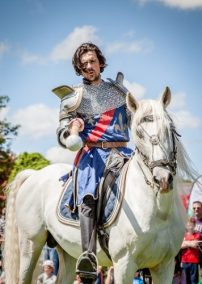 Flavours of Fingal Country Show Dublin Ireland - The Cavalry of Heroes Medieval Jousting Horse Stunt Show - Knight Sit Lancelot camera target