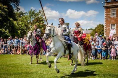 Flavours of Fingal Country Show Dublin Ireland - The Cavalry of Heroes Medieval Jousting Horse Stunt Show - Knights get ready to trick ride