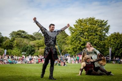 Flavours of Fingal Country Show Dublin Ireland - The Cavalry of Heroes Medieval Jousting Horse Stunt Show - The Dark Knight celebrating victory