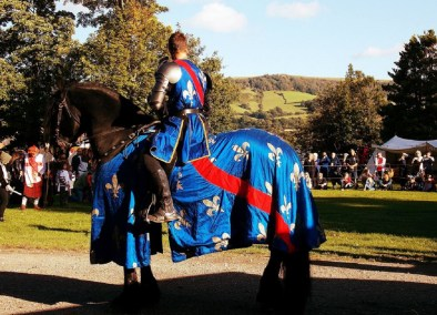 French Knight on Horseback Cavalry of Heroes Asgard Freisian at Hay History Weekend and The Battle of Agincourt