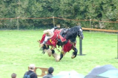 Berkeley Castle Medieval Jousting Show 2017 Trick Riding from The Golden Knight, Marc Lovatt as part of The Cavalry of Heroes