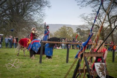 Sudeley Castle Medieval Jousting Show 2017 - The Blue Knight waves to his adoring fans