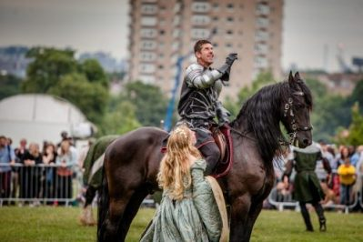 Lambeth Country Show - Brockwell Park - Medieval Jousting Tournament with The Cavalry of Heroes, Knights on Horseback Main Arena Stunt Horse Show 2017 - The Dark Knight tosses his crown
