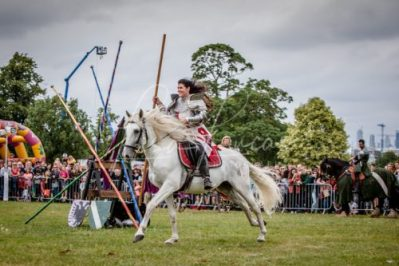 Lambeth Country Show - Brockwell Park - Medieval Jousting Tournament with The Cavalry of Heroes, Knights on Horseback Main Arena Stunt Horse Show 2017 - Lady Lancelot, Female Knight in Armour