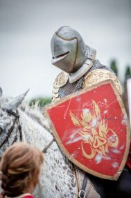 Lambeth Country Show - Brockwell Park - Medieval Jousting Tournament with The Cavalry of Heroes, Knights on Horseback Main Arena Stunt Horse Show 2017 - The Golden Knight about to Joust