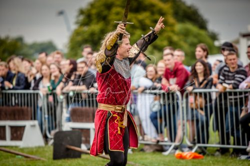 Lambeth Country Show - Brockwell Park - Medieval Jousting Tournament with The Cavalry of Heroes, Knights on Horseback Main Arena Stunt Horse Show 2017 - The Golden Knight celebrating his win
