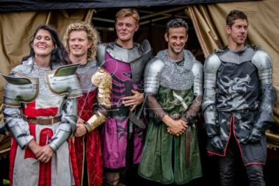 Lambeth Country Show - Brockwell Park - Medieval Jousting Tournament with The Cavalry of Heroes, Knights on Horseback Main Arena Stunt Horse Show 2017 - The Knights posing for photographs