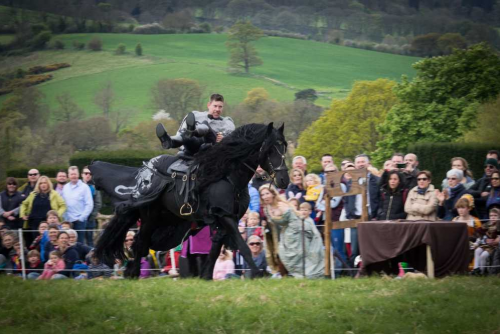Sudeley Castle Medieval Jousting Show 2017 - Dark Knight lay across saddle