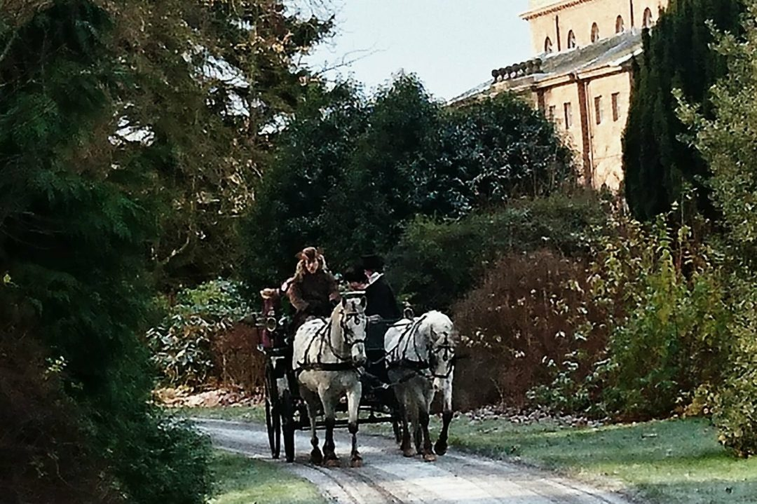 Wedding Horse and Carriage from The Cavalry of Heroes featuring a pair of Appaloosa's and Landau Carriage with Marc Lovatt as Head Coachman and Carriage Master, taken at Malvern College, Worcestershire, Midlands