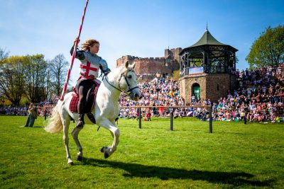 The Cavalry of Heroes St George Jousting Tournament at Tamworth Castle Easter 2019 Medieval Knights on Horseback St George England UK from Marc Lovatt and The Cavalry of Heroes Photo by Tamworthartsandevents