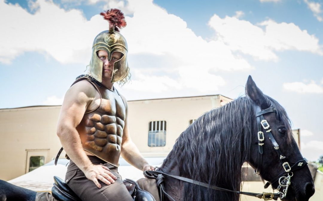 Romans, Knights and Soldiers Trick Riding Horse Show at Kinver Country Show 2017