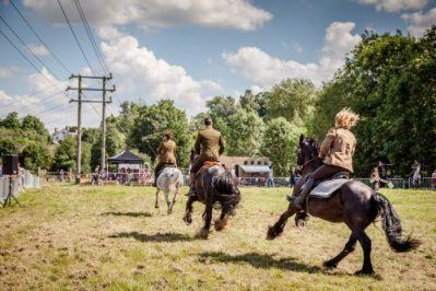 021 The Cavalry of Heroes performing WW1 Trick Riding Horse Show at Kinver Country Fair 2017 Romans, Knights and Highwayman on Horses