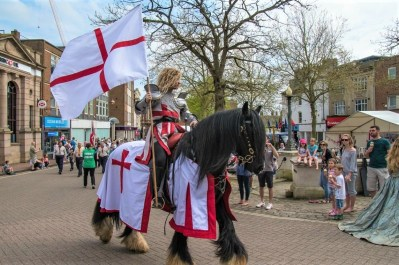 Marc Lovatt and The Cavalry of Heroes St George Parade Celebration and Event at Aylesbury Town Centre Knight on Horseback hire 4