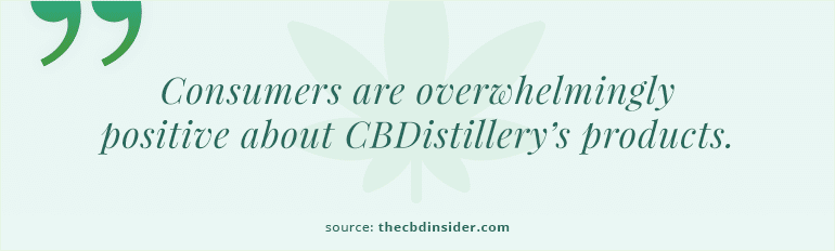 positive consumer reviews about CBDistillery