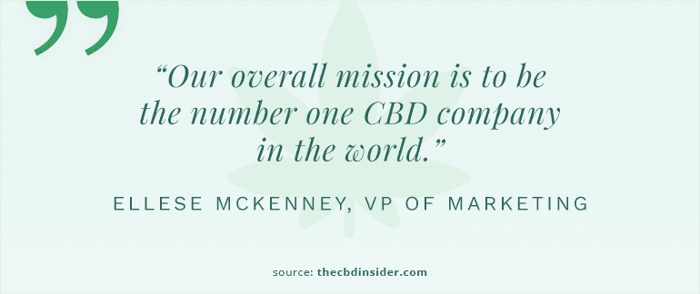 cbdistillery quote about wanting to be the number one cbd company in the world