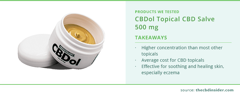 cbdistillery cbdol topical cbd salve 500 mg highlights