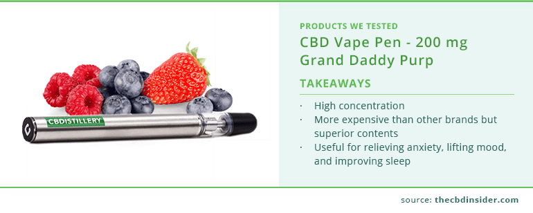 cbdistillery cbd vape pen highlights