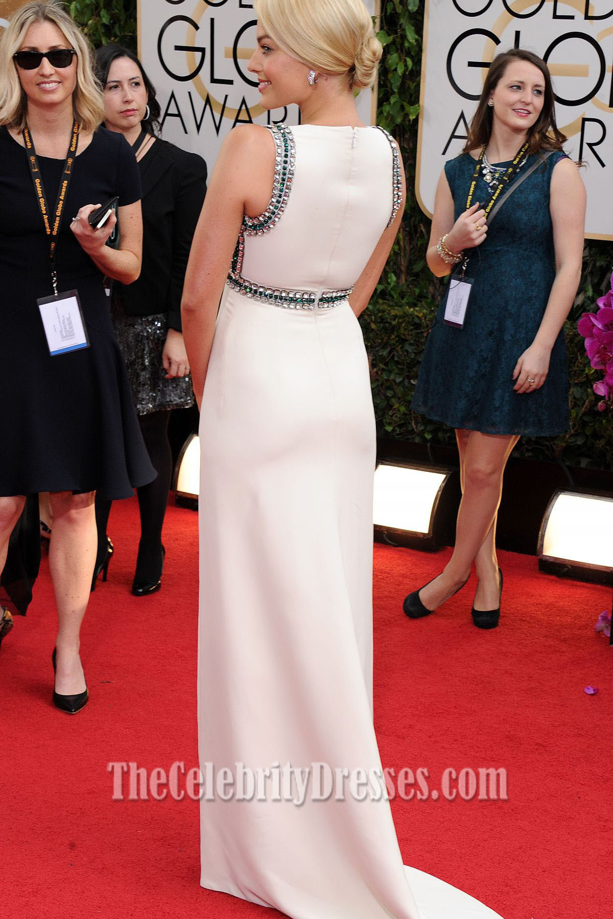 Golden Globes Roter Teppich Margot Robbie Wulstiges Formales Kleid 2014 Golden Globes