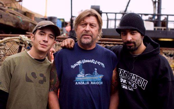 Late captain Phill Harris along with son Jake Harris (L), Josh Harris (R)
