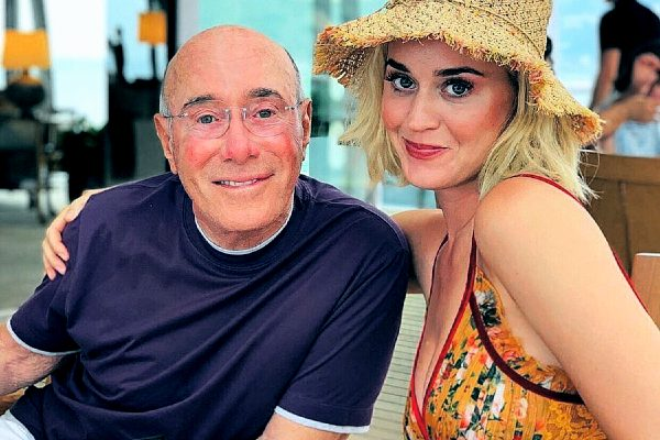 Businessman David Geffen with American singer katy perry