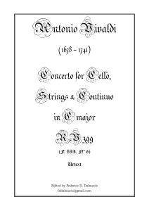 Vivaldi A. - Concerto for cello, string's and b.c C-Dur RV399