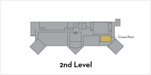 Crown Point is located on the 2nd level in the Northwest area of the building.
