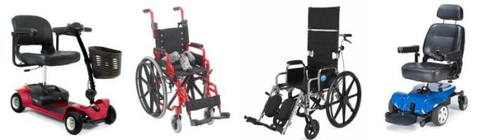 manual wheelchair, power wheelchair, motor scooter