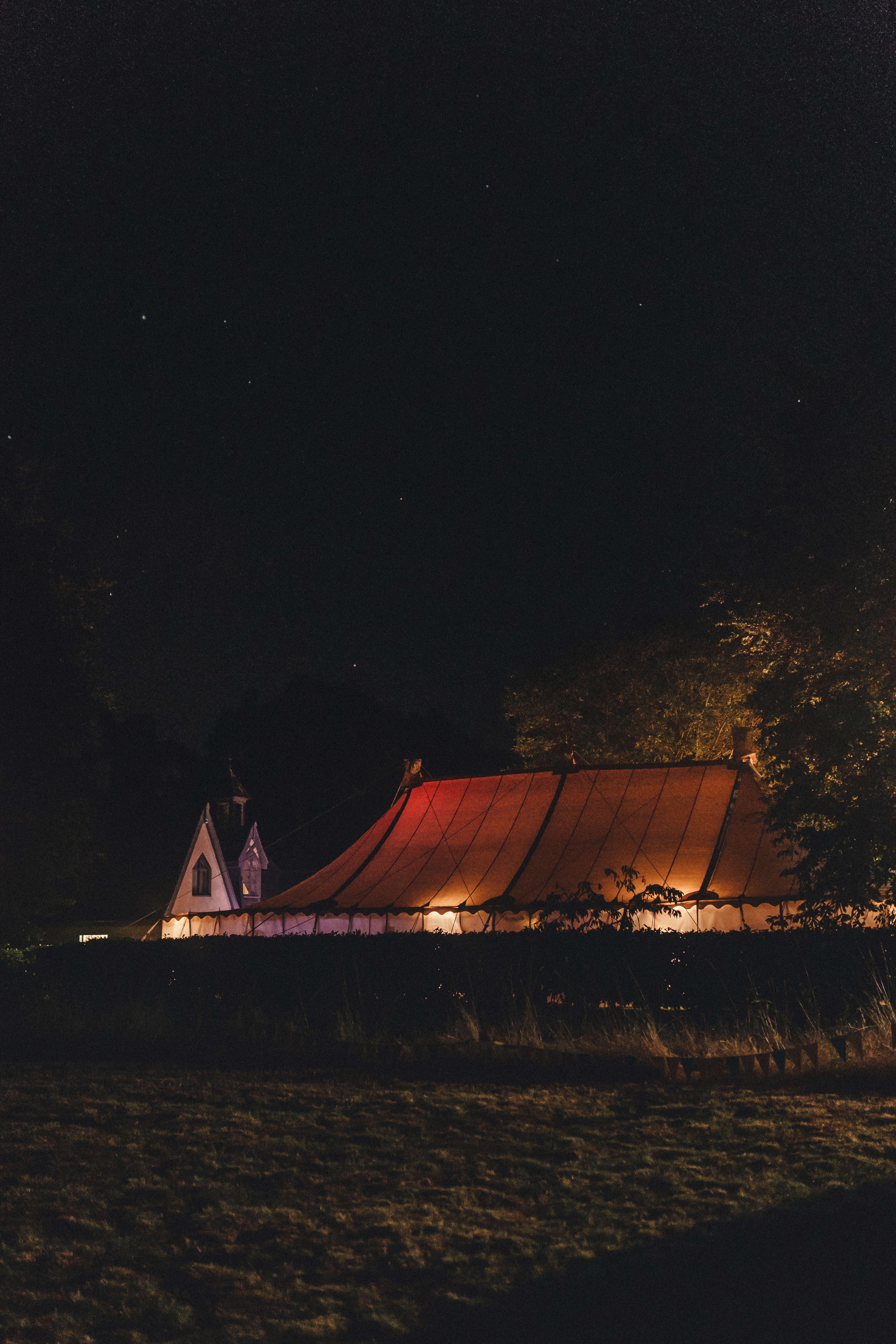 Back garden Tipi under a starry night for DIY Autumn Woodland Wedding | The Chamberlins Wedding Photography | Thetford and Norfolk Wedding Photography at Thetford Forest Park