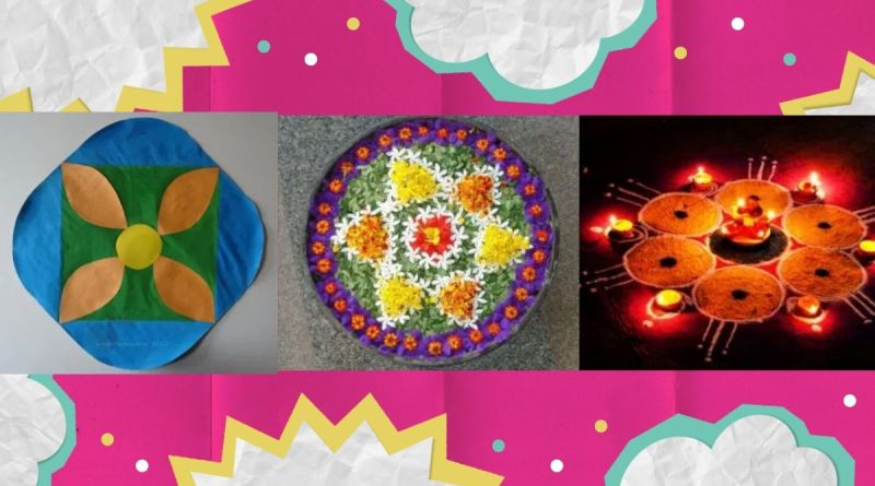 Rangoli designsfor kids - 3 colorful rangoli designs