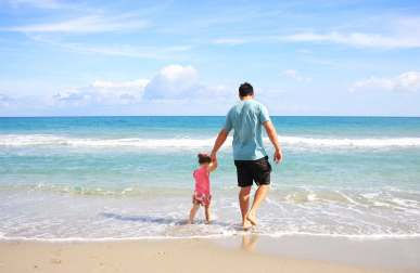 Ideas for Fathers Day - Dad walking on the beach holding his daughter's hand