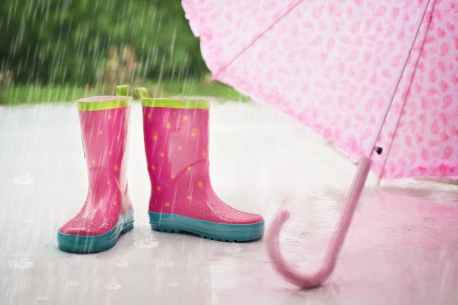Raining and two pink boots - tips for not to fall sick