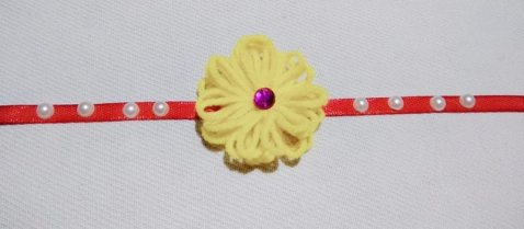 How To Make Rakhi At Home 02 - Wool flower rakhi