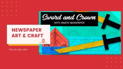 Newspaper art and crafts - crown and sword