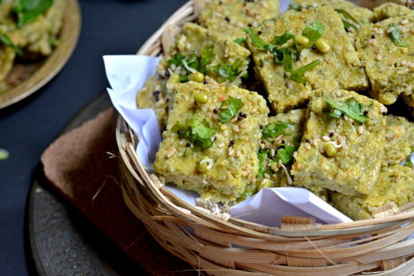 Sprouted Moong Dhokla