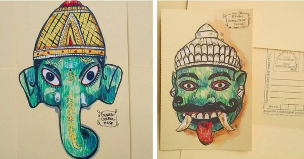 Wall Hanging Paper Craft - Deity Illustrations and Masks